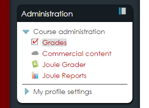 Administration Block with Grades link highlighted